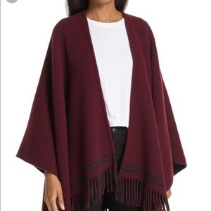NORDSTROM Fringed red poncho OS